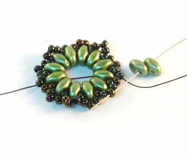 Step 9 of Starburst Earrings Tutorial- Simple Free Beaded Earring Pattern