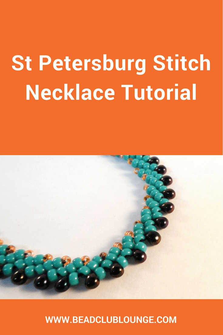 Want to learn how to make a simple but beautiful necklace using St. Petersburg Stitch? Click here for a free beading tutorial perfect for beginners. #beading #beadwork #jewelrymaking #jewelrytutorial #tutorials #patterns