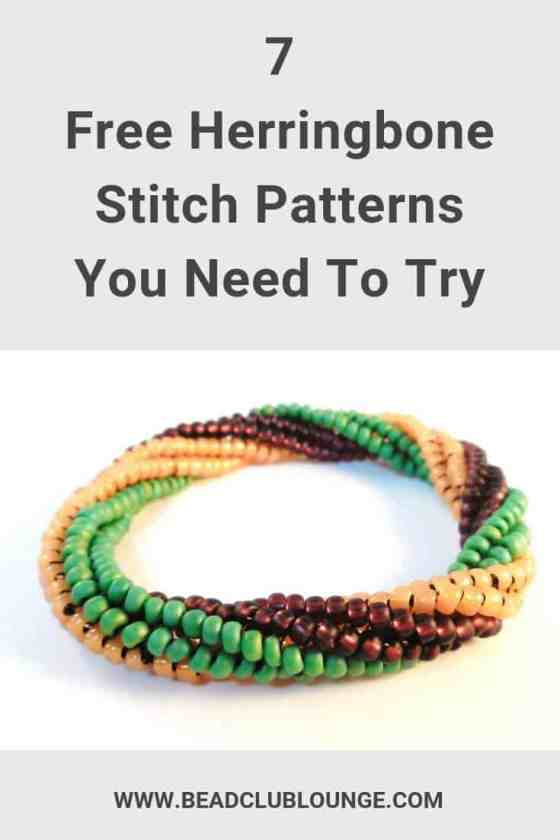Want free Herringbone Stitch beading patterns? Here's a list of patterns that includes all of the variations of this bead-weaving technique like Flat, Tubular and even Twisted Tubular Herringbone Stitch that you can use to make beaded rope jewelry and more. Click the link to start jewelry-making with these beadwork project ideas. #beads #beading #beadwork #jewelrymaking #jewelrytutorial #herringbonestitch #thebeadclublounge