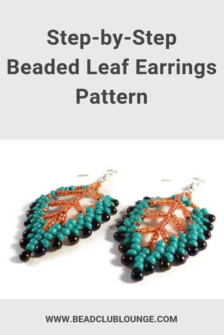 Easy beaded St. Petersburg Leaf Earring Pattern for beginners