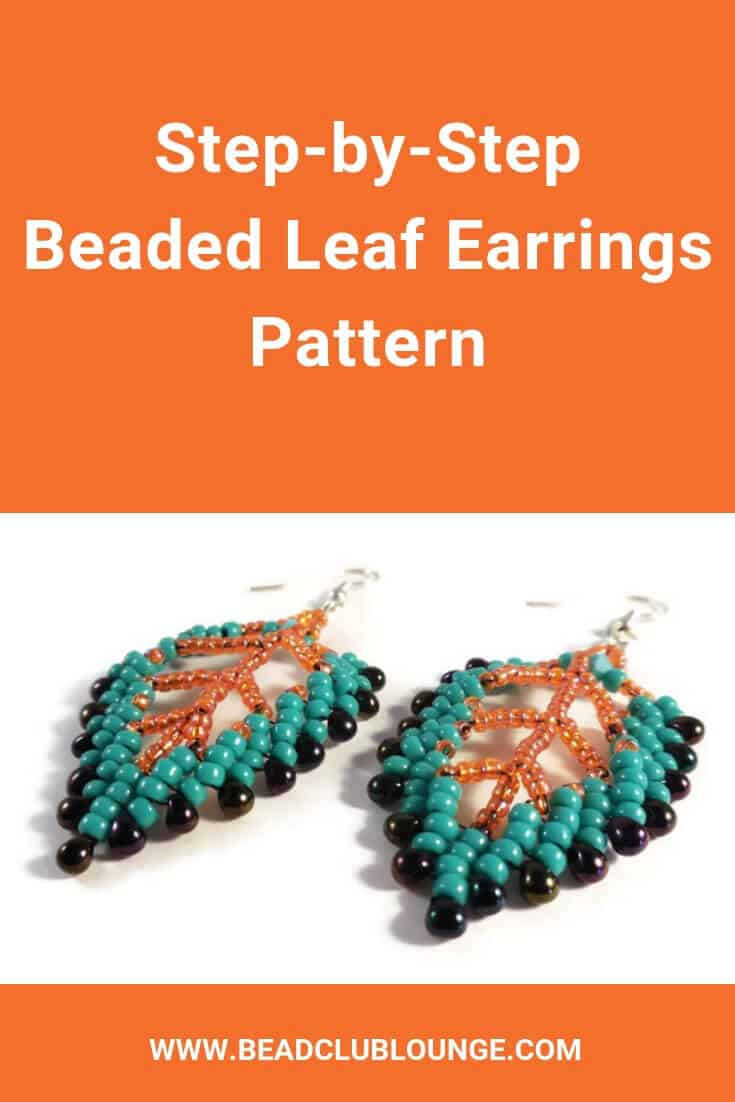DIY beaded leaf earrings using this easy bead weaving pattern. It's the perfect seed bead tutorial for beginners. Start jewelry-making and check out this simple, step-by-step St Petersburg Stitch beading pattern that includes step-by-step instructions in English accompanied by close-up pictures. #beading #beadwork #jewelrymaking #earrings #freepattern #tutorials