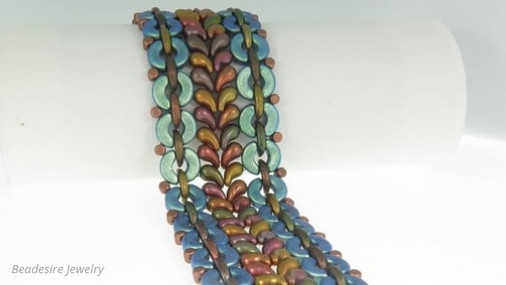 51 Beautiful ZoliDuo Bead Patterns You Need To Try - Kilimanjaro Bracelet by Beadesire Jewelry