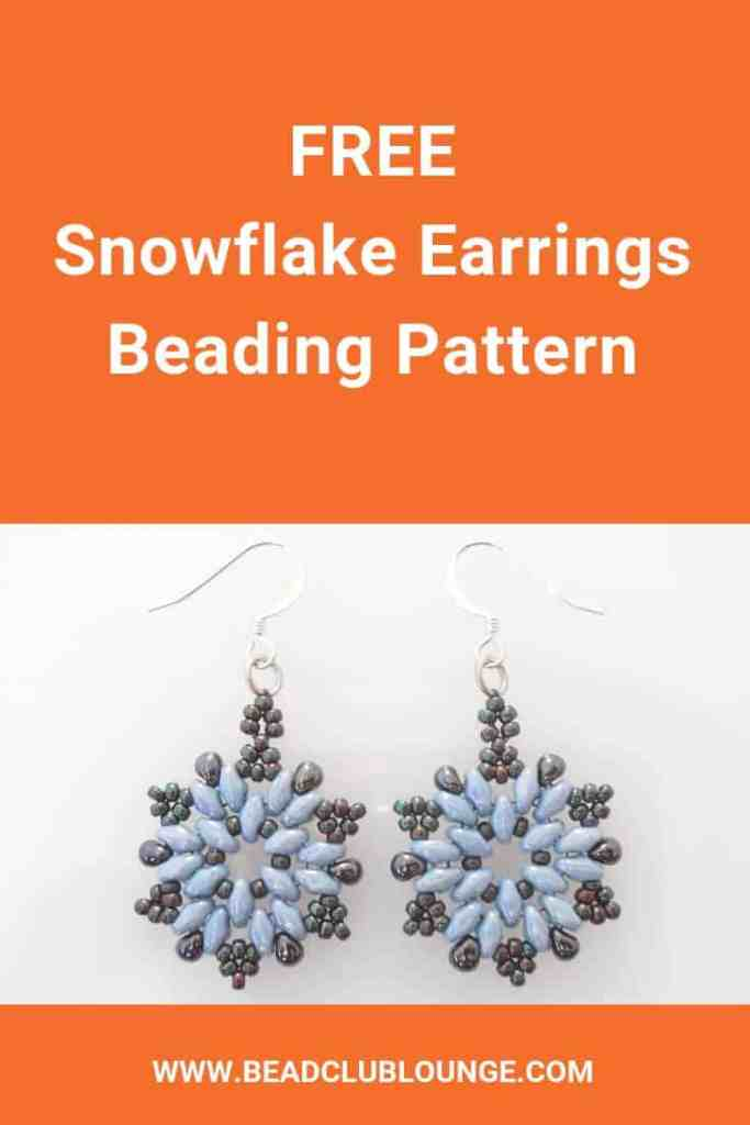 Learn how to make the fun beaded Christmas earrings. You'll get a simple, step-by-step tutorial with instructions in English and pictures. DIY jewelry makes wonderful gifts so make these beautiful SuperDuo earrings and give them away for the holidays. Your friends and family will love these unique, handmade beaded earrings. Or, use this free pattern to create snowflake ornaments. #christmas #beading #jewelrymaking #jewelrytutorial #tutorials #patterns