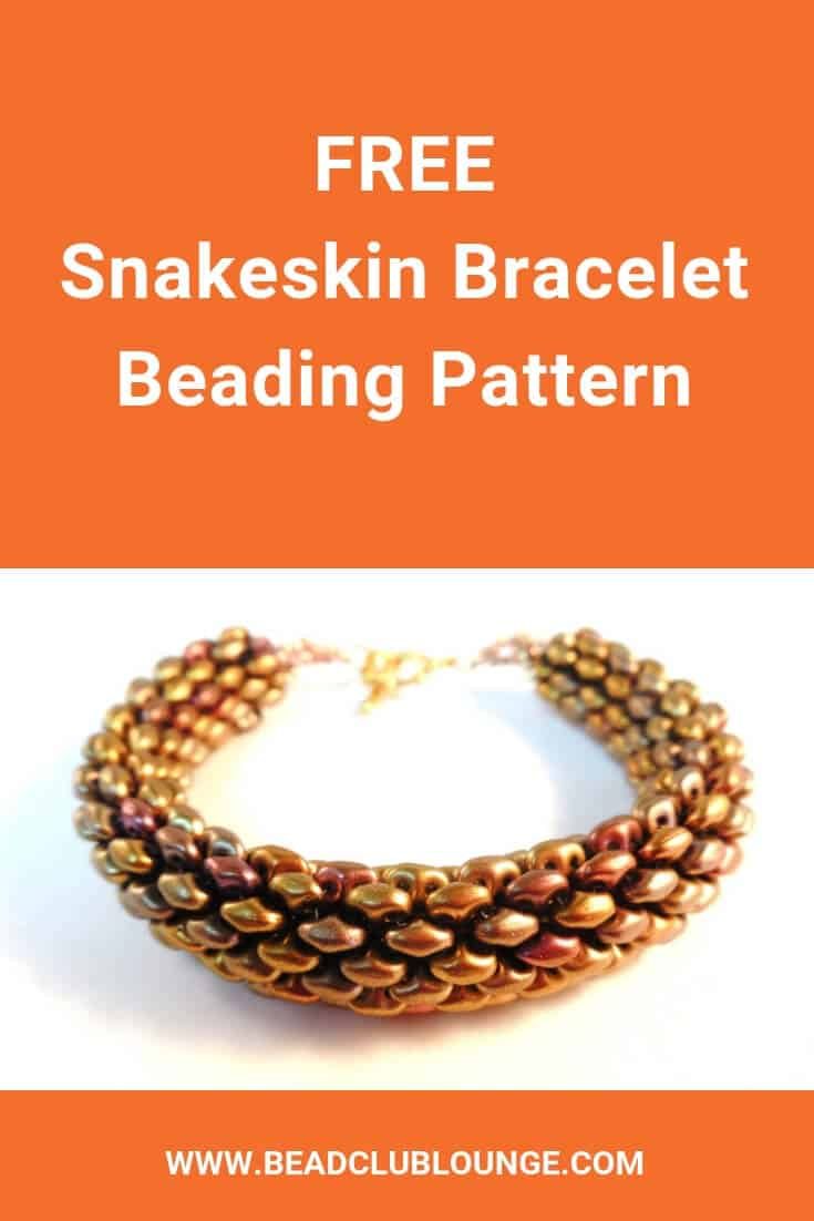 Learn how to make this free tubular peyote stitch rope bracelet using SuperDuo beads. You could also make a lovely beaded necklace using this pattern. The simple, step-by-step tutorial contains instructions written in English and pictures to make this beading project easy for beginners. Click here for the Snakeskin Bracelet pattern and start jewelry making today. #beading #beadwork #jewelrymaking #jewelrytutorial #tutorials #patterns #TheBeadClubLounge