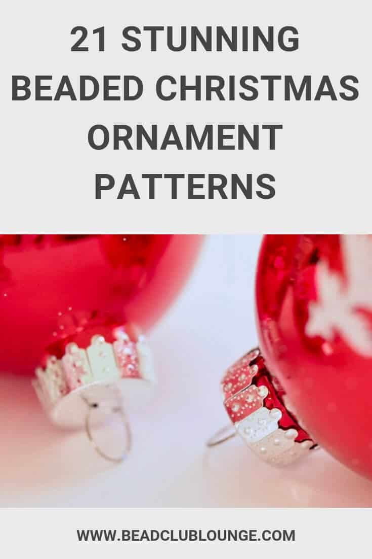 Here's a list of beautiful beaded Christmas ornaments patterns including free videos and Etsy tutorials with pictures. There are fun projects for beginners and more advanced beading patterns using crystals etc. Express your own personal style during the holidays, try using these ideas for tree decorations e.g. candy canes. These designs use various techniques from Peyote Stitch to Herringbone Stitch. #diyornaments #christmas #beading #beadwork # beadweaving #beads