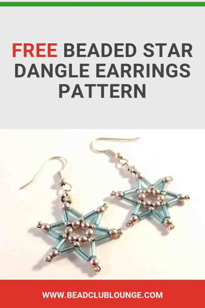 Learn how to make these fun beaded star earrings for Christmas using this simple tutorial in English with pictures. You'll just need a few materials to create this DIY project for beginners. Handmade jewelry makes a lovely gift so you can make several pairs of these quick and easy designs for friends and family. Click here for the step by step beading pattern. #earrings #earringshandmade #earringsdiy #beading #jewelrymaking #jewelrytutorial #tutorials #freepattern