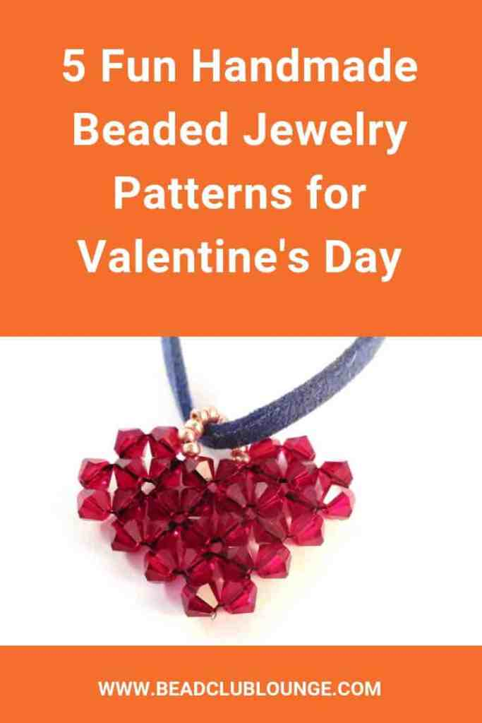 Try these five Valentine's Day beaded jewelry patterns. Each one is a video tutorial and most are great for beginners. This list includes beaded heart projects, earrings and beaded bracelets so there's something for everyone. #valentinesday #valentinesdaycraft #beadedjewelrypatterns #beadweaving