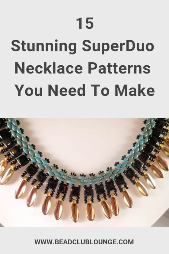 Here's a list of beautiful necklace patterns on Etsy. You'll find beading tutorials fit for beginners and more advanced beaders. If you love bead stitching, you don't want to miss out on these must-have DIY jewelry patterns using SuperDuo beads. #beading #jewelrymaking #jewelrytutorial