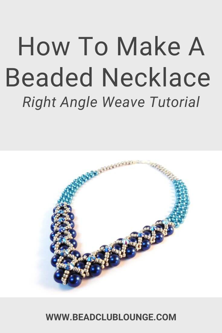 Enjoy this free tutorial showing you how to make a beaded necklace using Right Angle Weave. This bead pattern is recommended for intermediate skill levels since you'll be using the cross weaving technique, i.e. working with two beading needles simultaneously. If you're looking for simple bead weaving ideas for DIY jewelry, this is a great place to start. #rightangleweave #beadednecklace #freepattern #tbcl
