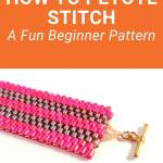 Learn how to peyote stitch with this easy beading pattern for beginners. Peyote Stitch is a fun, versatile bead weaving technique with lots of variations. The easiest one is called Flat Even Count Peyote Stitch. That's exactly what you'll learn with this free beaded bracelet tutorial. All you'll need are two colors of seed beads to get started. #peyotestitch #freepattern #tbcl