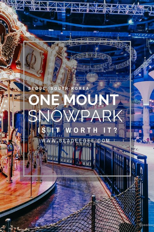 A carousel and skating rink background with text One Mount Snowpark Is it worth it?
