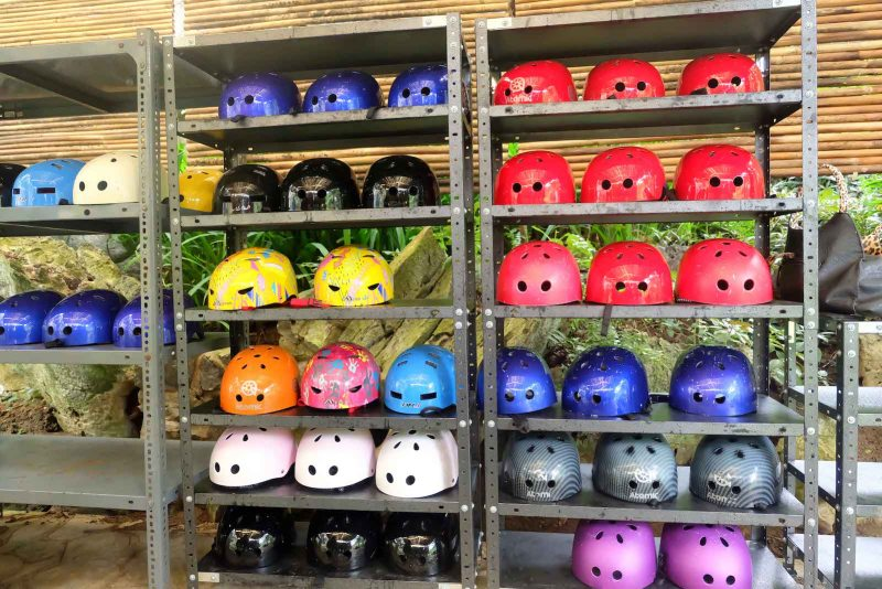 the colorful helmets in masungi georeserve