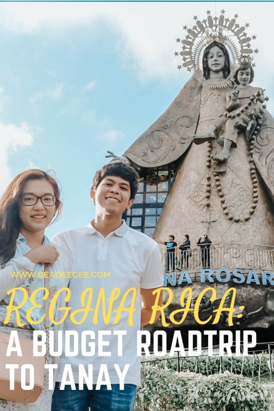 a couple in front of the big Regina Rica statue in Tanay