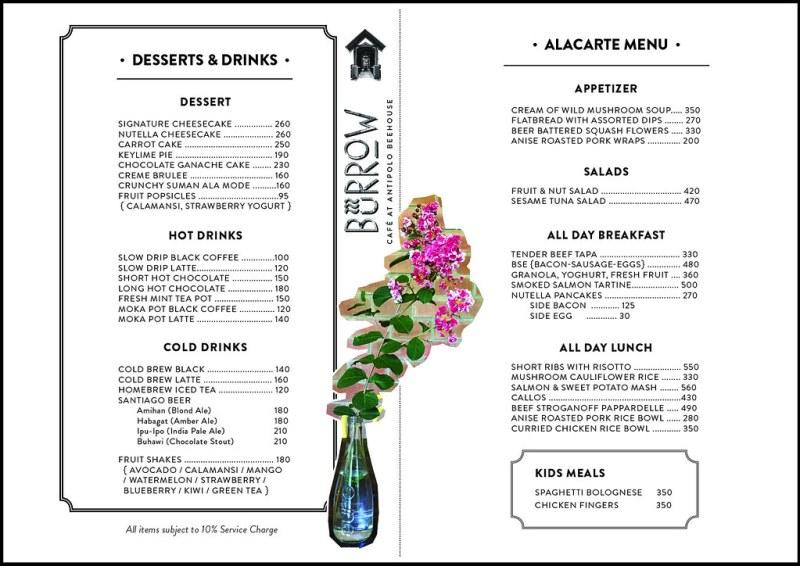 burrow cafe antipolo menu