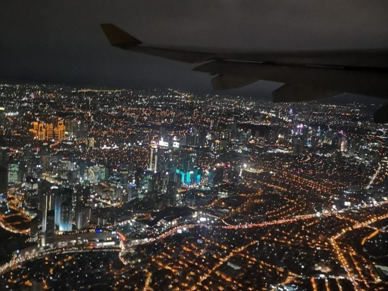 View of the city from an airplane at night