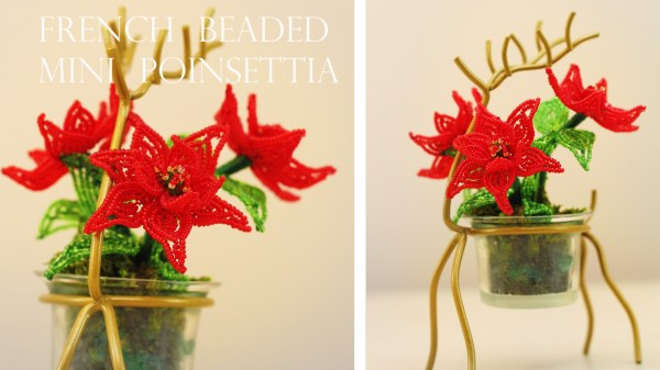 French beaded mini poinsettias pattern and tutorial