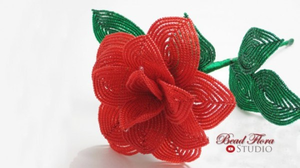 French beaded rose - beginner