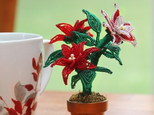 French beaded mini poinsettia plant, Bead Flora and Jewels, Bead Flora Studio