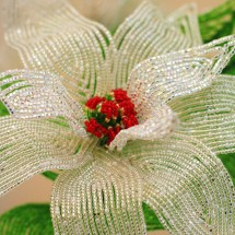 French beaded silver poinsettia by Bead Flora studio