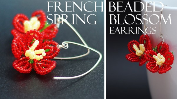 French beaded Spring Blossom flower earring KIT
