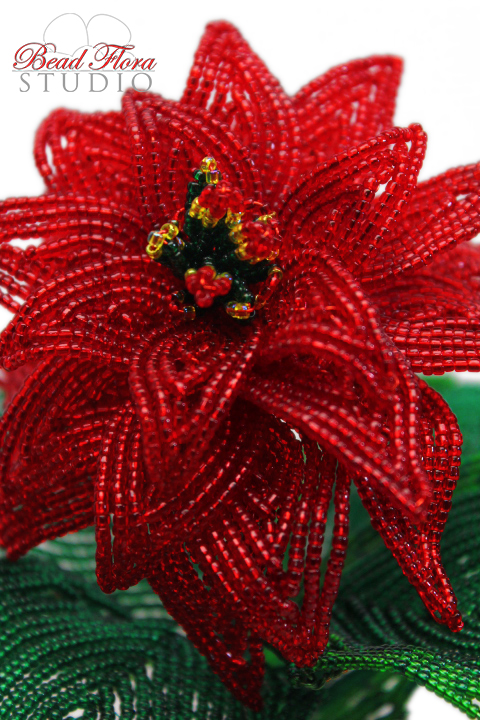 KIT - French beaded winter rose poinsettia bead kit