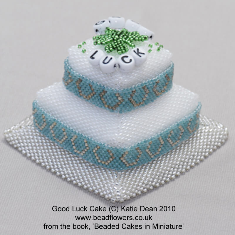 Good luck beaded cake from the ebook, beaded cakes in miniature, Katie Dean, Beadflowers