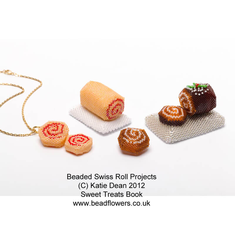 Beaded swiss roll and beaded Yule log, projects from Sweet Treats book by Katie Dean