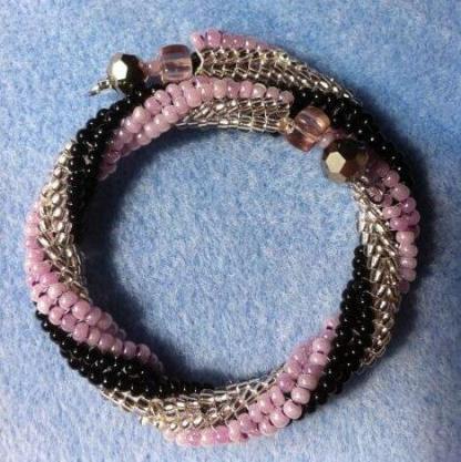 Herringbone twist bangle kit in pink, beaded by Linda, pattern by Katie Dean, Beadflowers