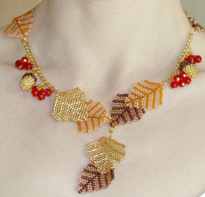 Autumn Necklace Pattern, Katie Dean, Beadflowers