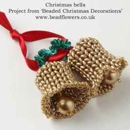 Beaded Christmas bell ornament kit, Beaded decorations, Katie Dean, Beadflowers