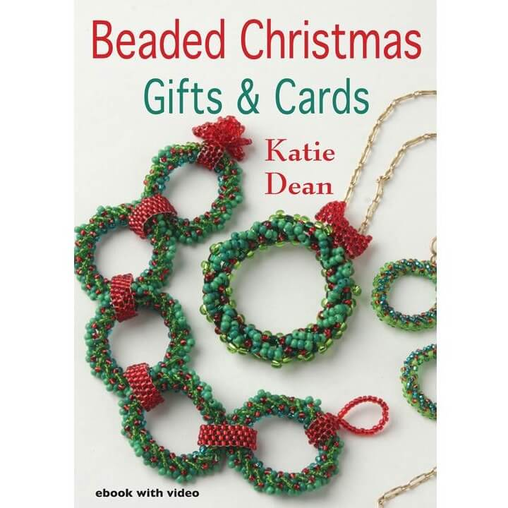 Beaded Christmas wreath earrings, Beaded Christmas Gifts and Cards Ebook