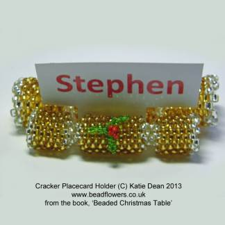 Beaded Cracker place card holder, Beaded Christmas Table ebook, Katie Dean, Beadflowers