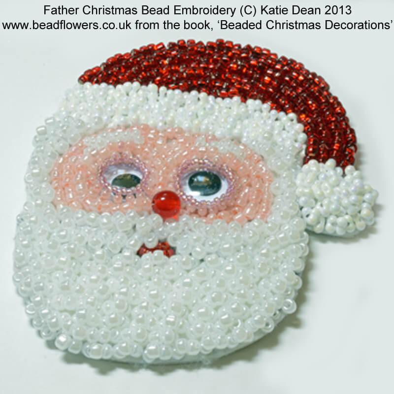 Santa bead embroidery pattern from Beaded Christmas decorations ebook, Katie Dean, Beadflowers