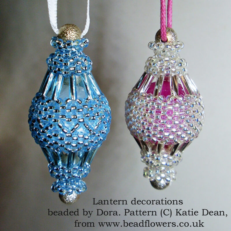 Lantern beaded decorations, pattern by Katie Dean, Beadflowers