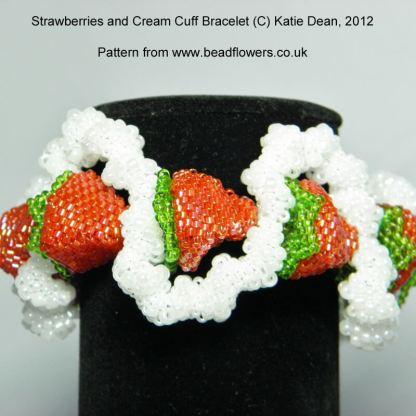 Strawberries and Cream cuff bracelet pattern, Katie Dean, Beadflowers