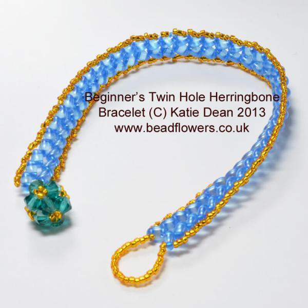 Beginner's Pattern for Herringbone with TwinHole or Superduos, by Katie Dean, Beadflowers