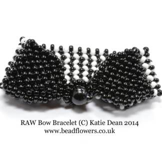 Bow Bracelet Pattern, Right Angle Weave, Katie Dean, Beadflowers, Beginner Beading Projects