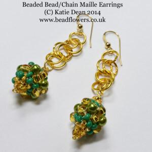 Peyote Beaded Bead Chain Maille Earrings, Katie Dean, Beadflowers