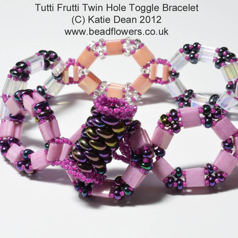 Tutti Frutti Twin Hole Toggle Bracelet Pattern, Katie Dean, Beadflowers