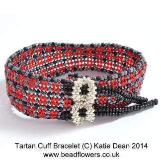 Tartan Cuff Bracelet Pattern, Katie Dean, Beadflowers