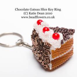 Beaded Chocolate Cake Slice Pattern, Katie Dean, Beadflowers