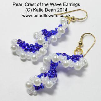 Bead Earrings Kit: Pearl Crest of the Wave, Peyote stitch earrings
