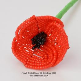 French beaded poppy pattern, beaded poppy brooch kit