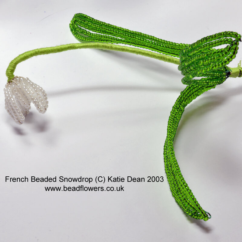 french beaded flowers: beaded snowdrop