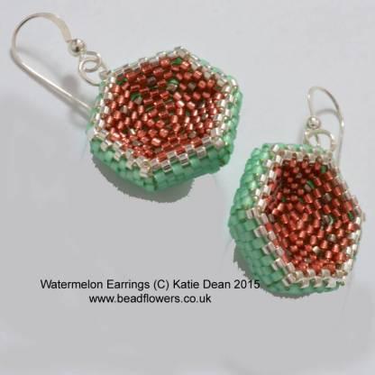 Watermelon Earrings Beading Pattern, Katie Dean, Beadflowers