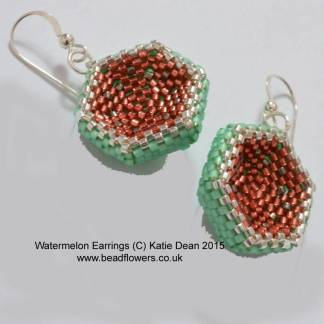 Watermelon Earrings Beading Pattern, Katie Dean, Beadflowers