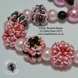 Infinity beads beaded bead necklace pattern, Katie Dean, Beadflowers