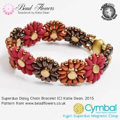 Superduo daisy bracelet, Katie Dean, Beadflowers