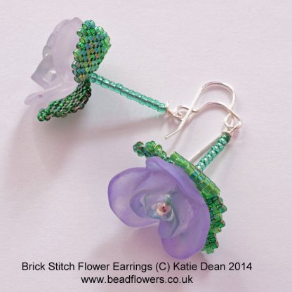 Brick stitch flower earrings