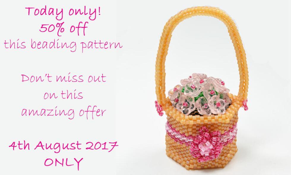 Beaded flower basket pattern by Katie Dean, Beadflowers